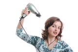 Young woman with hairdryer - isolated poster
