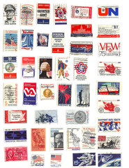 collection of red white and blue vintage american stamps