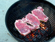 Angle of T-Bones on the Grill