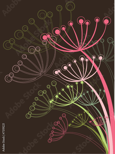 chocolate and pink dandelion (vector) - illustration
