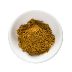 curry powder in white bowl isolated w/ clipping path