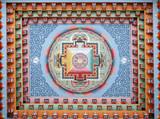 Tibetan mandala painting on monestery ceiling, Nepal