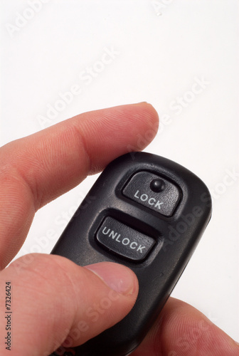 A car''s unlock button on key ring.