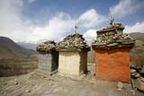 tibetan memorial tombs, annapurna, nepal poster