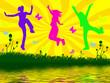 Leinwanddruck Bild - jumping people