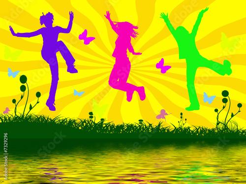Leinwanddruck Bild jumping people
