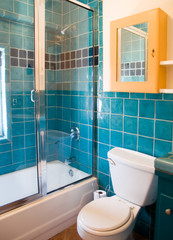Turquoise tile work in a bathroom