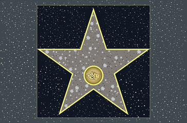 hollywood walk of fame: live theater star in vector