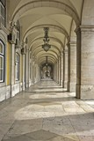 Historical Arcade on the Place de Commerce in Lisbon Portugal poster