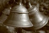 temple bells in muktinath, annapurna, nepal poster
