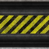 hazard stripes steel poster