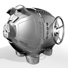 Steel piggy bank