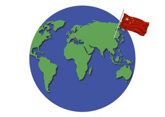 World Globe China Flag