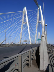 cable-braced bridge and blue sky