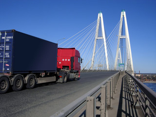 cable-braced bridge and truck