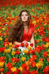 Woman in tulips