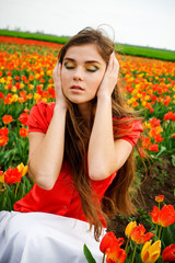 Woman and tulips