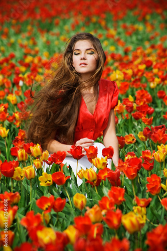 Woman in tulips
