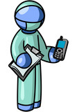 Blue Man Surgeon holding Cell Phone poster
