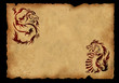 Sheet of ancient parchment with a two dragons