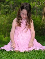 Shy Girl on Grass