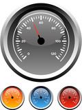 Fototapety Dashboard speedometer gauge icons in 4 colors