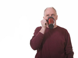 Old Guy Drinking from Coffee Mug