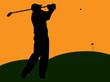 Golfer Silhouette Swinging at Sunset