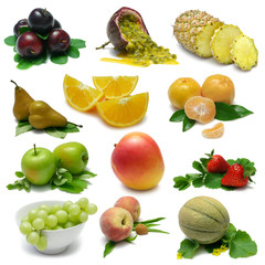 Fruit Sampler - isolated fruits with clipping path