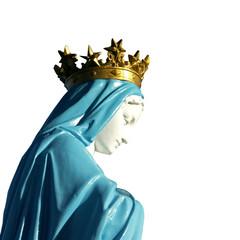 statue de la Sainte Vierge Marie détourée, sur fond blanc
