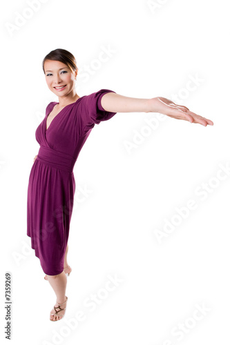 woman showing out her hand presenting