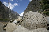 Tibetan mani prayer stones, annapurna, nepal poster