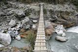 Wooden suspension bridge, annapurna, nepal poster