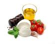 Olive oil, mozzarella, tomatoes and basil