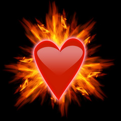 Red heart with ornage flames