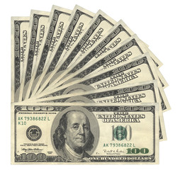 100 USD banknotes, isolated