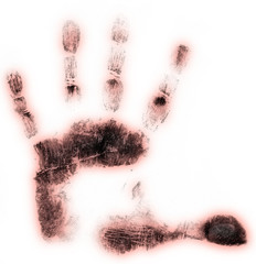 Left hand print on white background