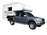 rv pickup truck with camping trailer poster