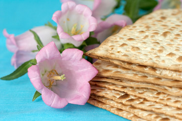 matzo. jewish passover bread with flowers. very shallow DOF