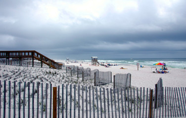 on the beach on a cloudy day
