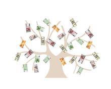 Tree-USD, euro i funt GB waluty pieniądze