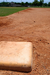 Baseball base on infield diamond