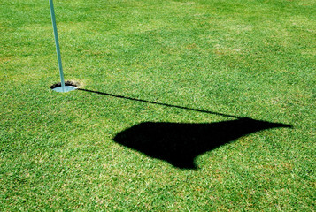 A golf hole on a green of a golfcourse with focus on the flag.