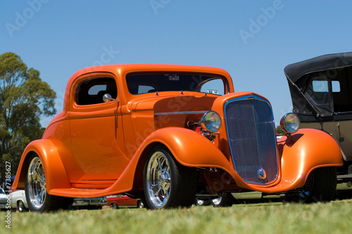 Plexiglas Oude auto s Orange Hot Rod