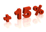 Red 3d inscription - plus of fifteen percent poster