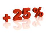 Red 3d inscription - plus of twenty five percent poster