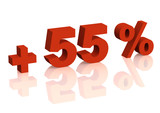 Red 3d inscription - plus of fifty five percent poster