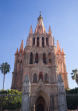 Pink Parroquia Archangel Church San Miguel Mexico Daytime poster