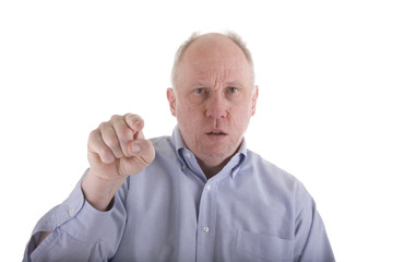 Angry Man in Blue Shirt Pointing at Camera