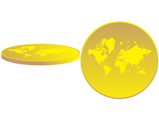 The map of the world presented as coin